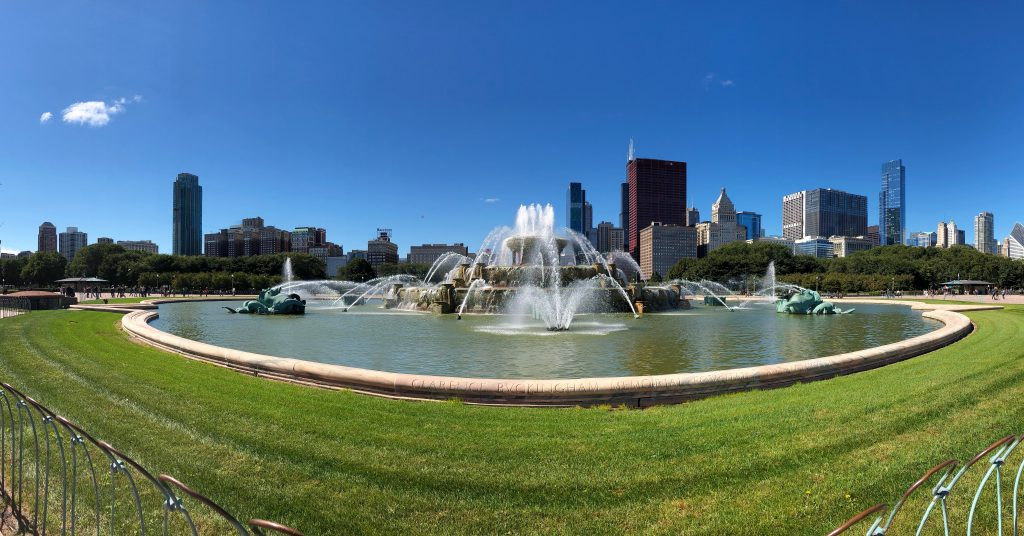 Buckingham Fountain; Mercedes Santana of Passports and Papers